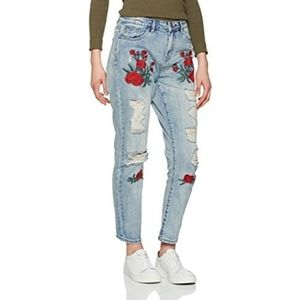 ONLY EMBROIDERED DISTRESSED JEANS LIGHT BLUE